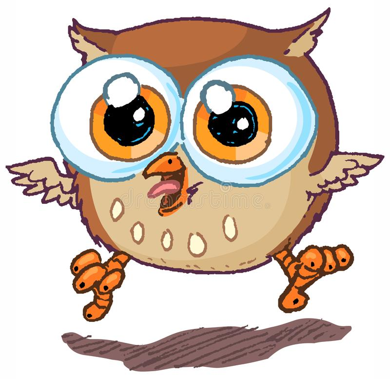 Cute Vector Cartoon Owl Mascot Jumping and Hooting stock illustration