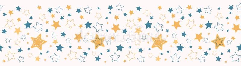 Cute vector cartoon starry sky Hand drawn seamless repeat border stock illustration