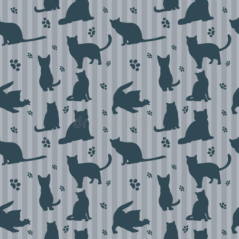 Cute vector cats silhouettes seamless pattern royalty free illustration