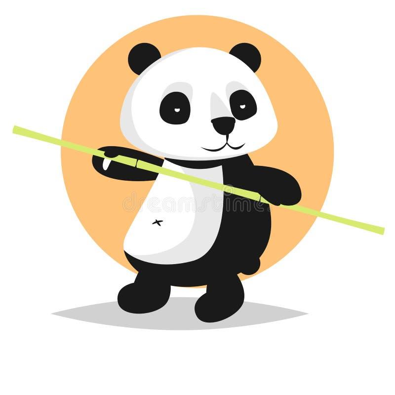 Cute vector character: panda with bamboo royalty free stock image