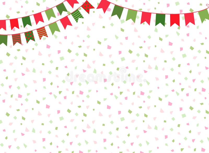 Cute vector Christmas background with party bunting flags for  winter decorations royalty free illustration