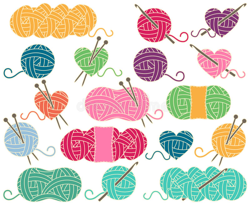 Cute Vector Collection of Balls of Yarn, Skeins of Yarn or Thread. For Knitting and Crochet vector illustration
