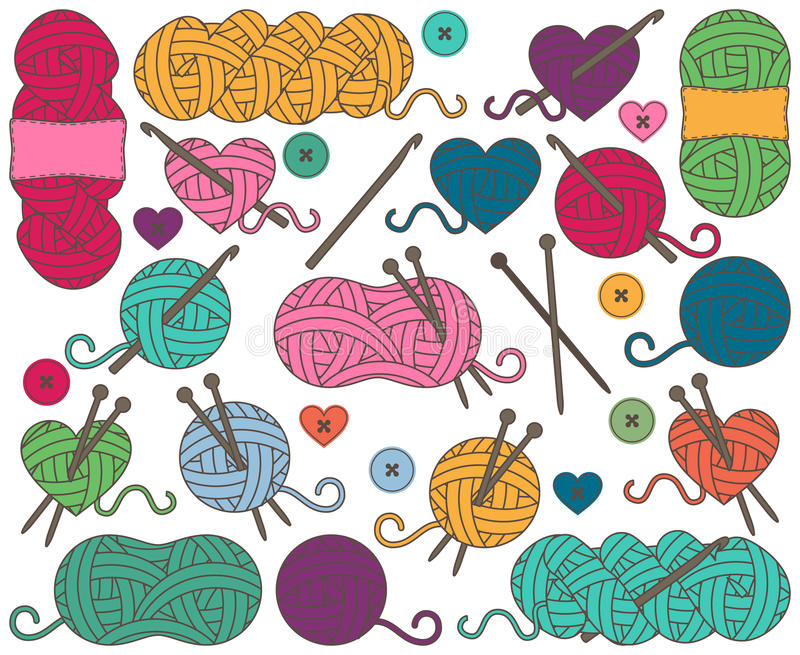 Cute Vector Collection of Balls of Yarn, Skeins of Yarn or Thread. For Knitting and Crochet royalty free illustration