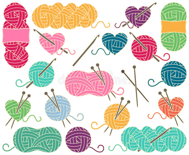Cute Vector Collection of Balls of Yarn, Skeins of Yarn or Thread. For Knitting and Crochet stock illustration