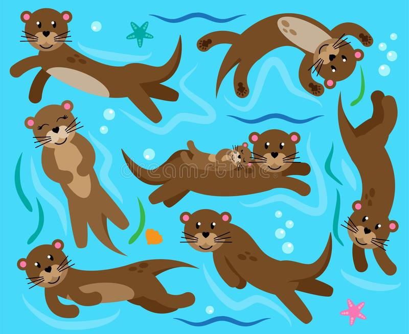 Cute Vector Collection of Otters in Water stock illustration