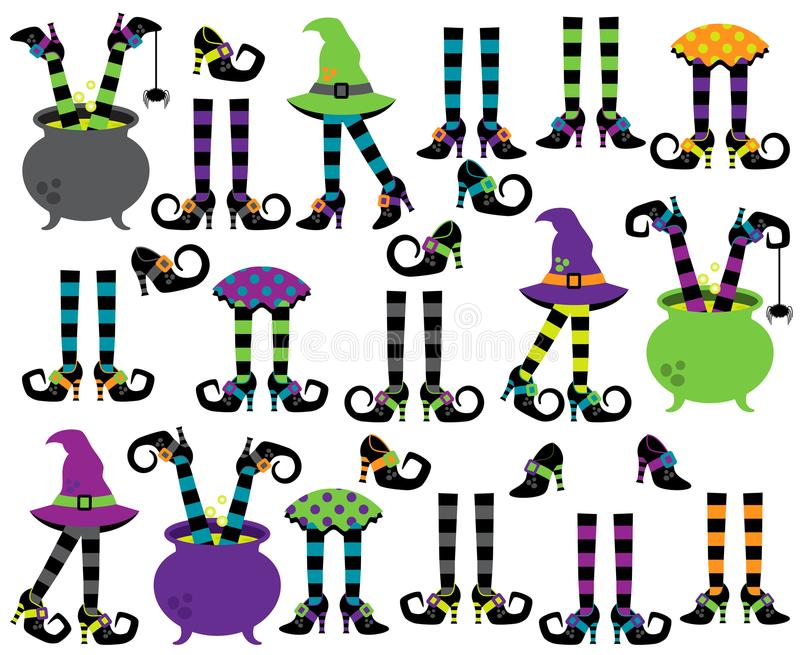 Cute Vector Collection of Witches` Feet, Legs vector illustration