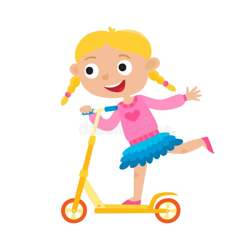 Free Cute Vector Concept Illustration Of Little Girl Having Fun Outside Stock Photos - 116784323