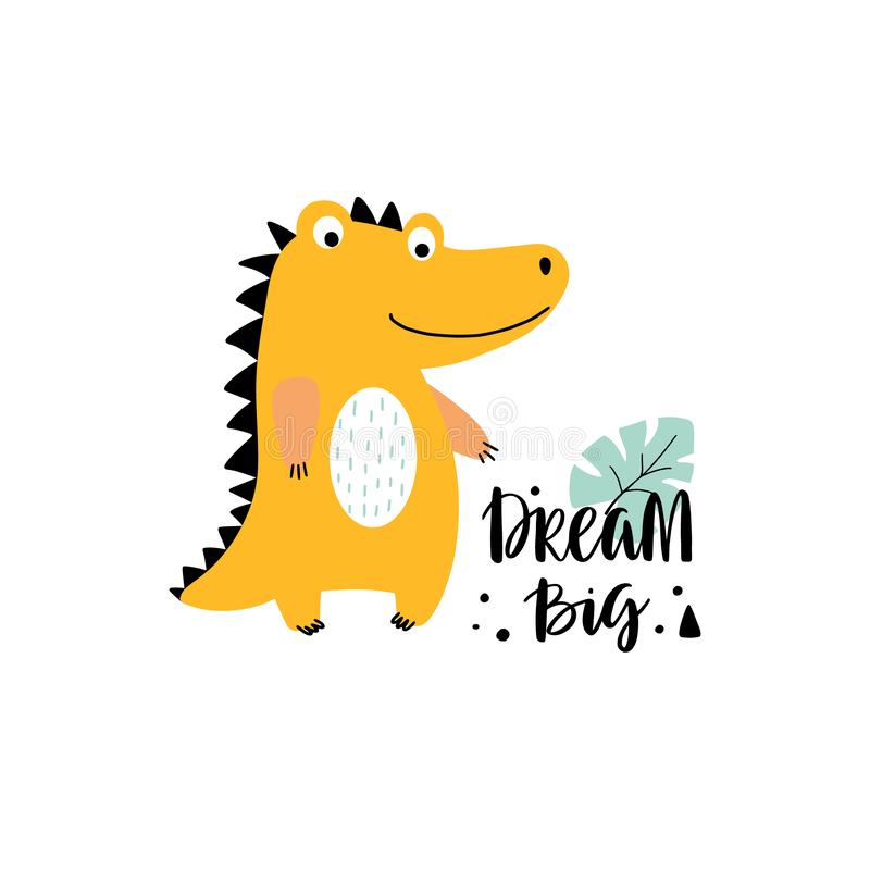 Cute vector crocodile with lettering vector illustration