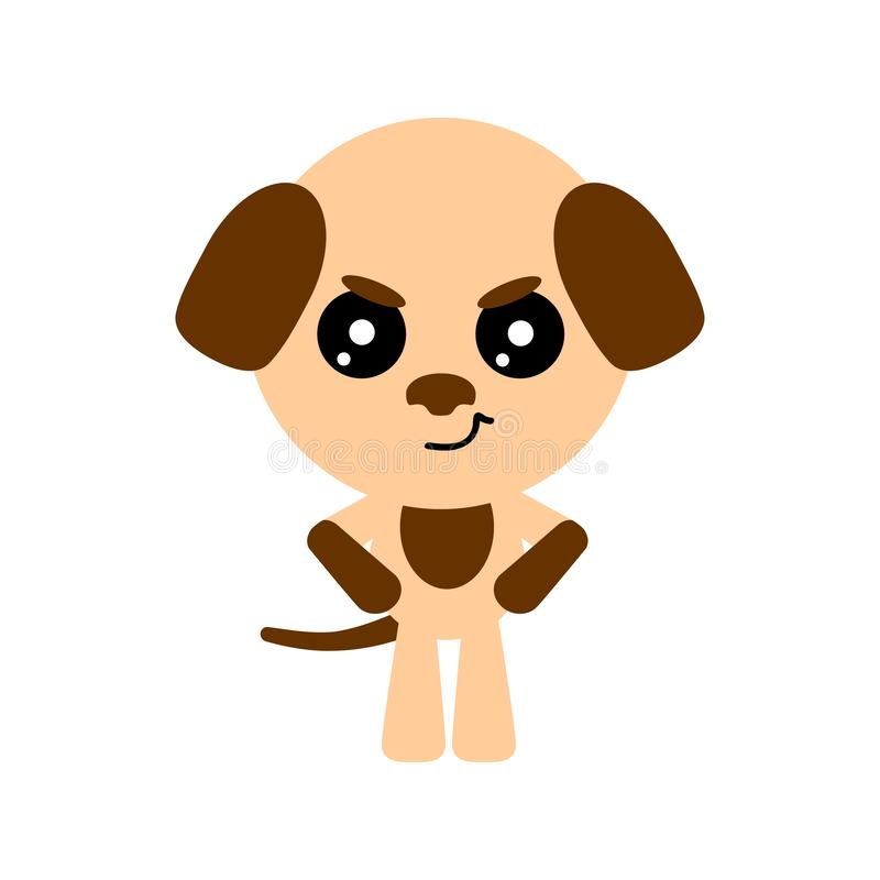 Cute vector dog. Cartoon angry character. White background. Flat design. Vector. stock illustration