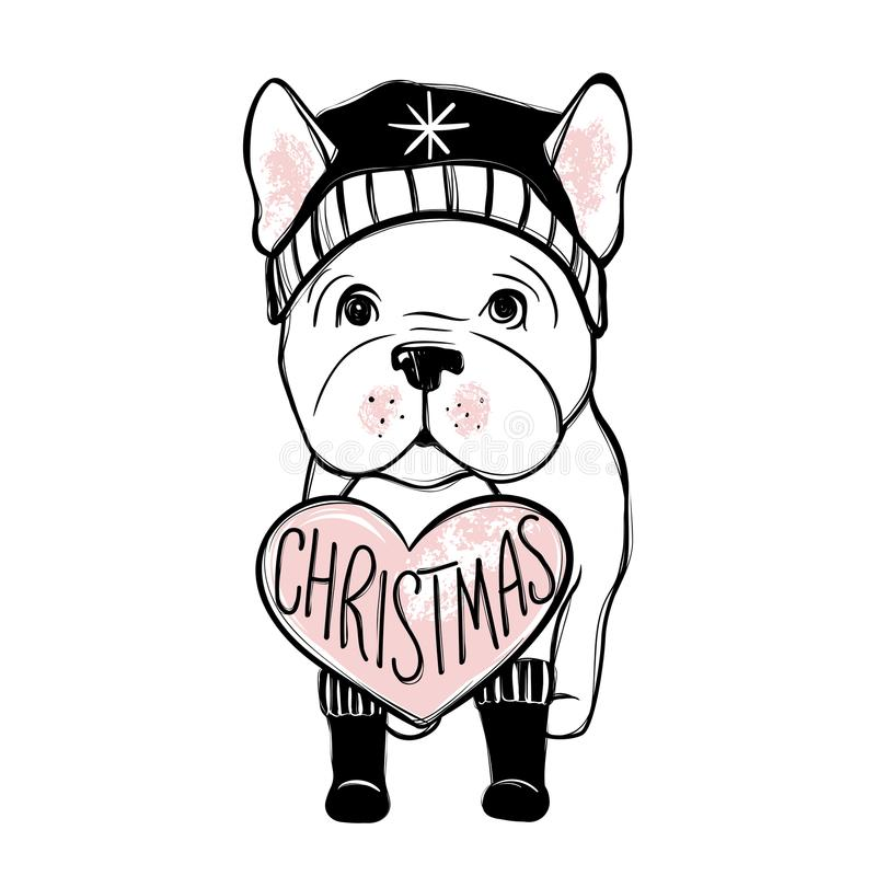 Cute vector dog in winter clothes. Fashion French bulldog puppy. Stylish animals. Clothing for pets. stock illustration