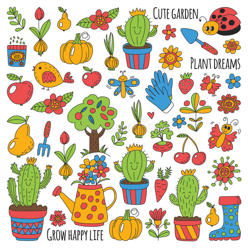 Cute Vector Garden With Birds, Cactus, Plants, Fruits, Berries, Gardening  Tools, Rubberboots Garden Market Pattern In Doodle Style Hand Drawn Image