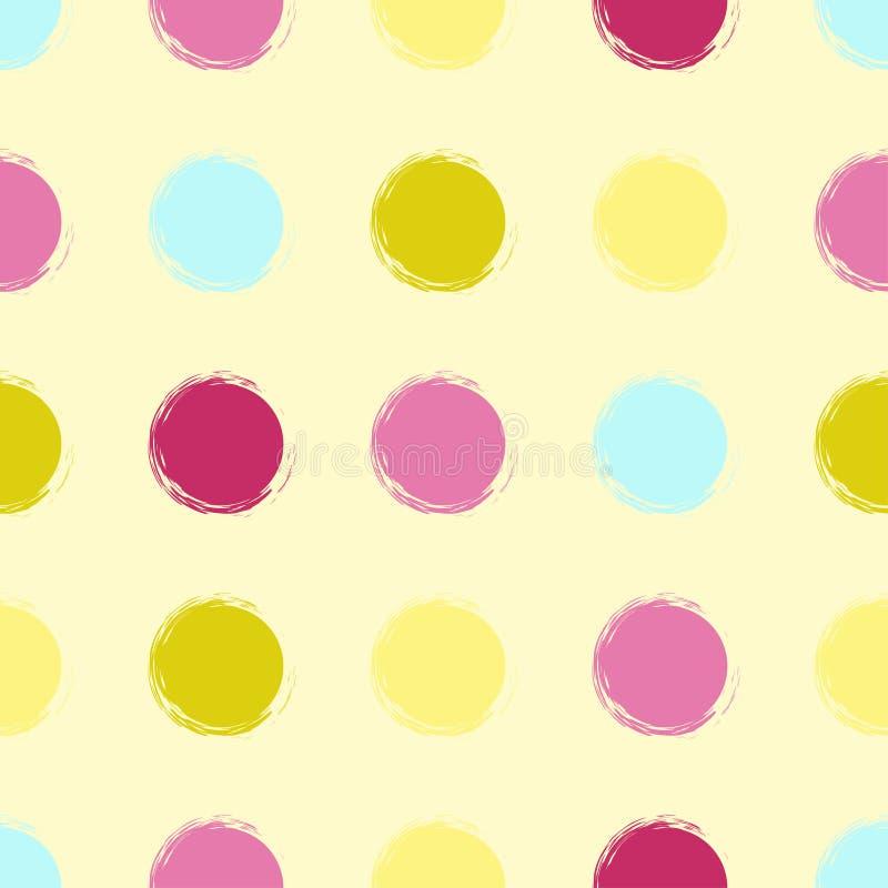 Cute vector geometric seamless pattern. Brush strokes. Polka dots. vector illustration