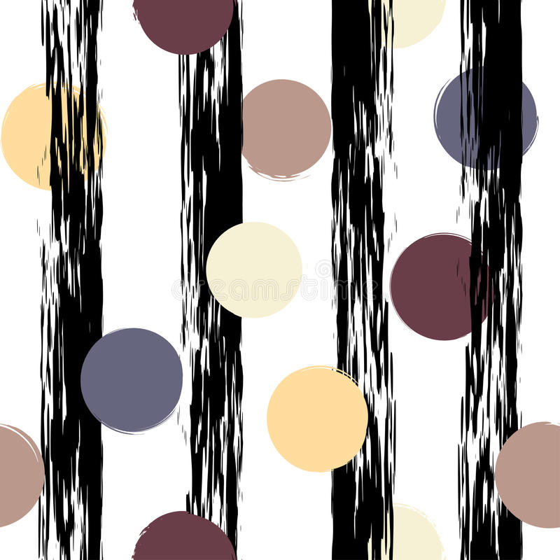 Cute vector geometric seamless pattern . Polka dots and stripes. Brush strokes. Hand drawn grunge texture. Abstract. Forms. Endless texture can be used for vector illustration