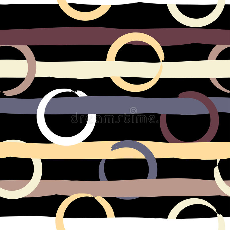 Cute vector geometric seamless pattern . Polka dots and stripes. Brush strokes. Hand drawn grunge texture. Abstract. Forms. Endless texture can be used for royalty free illustration