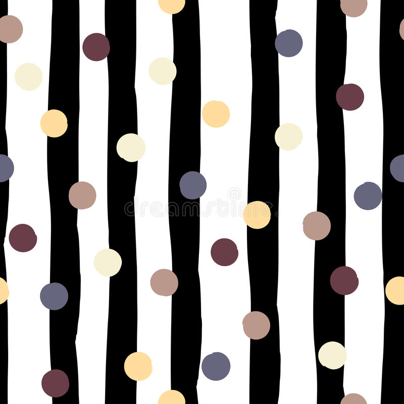 Cute vector geometric seamless pattern . Polka dots and stripes. Brush strokes. Hand drawn grunge texture. Abstract stock illustration