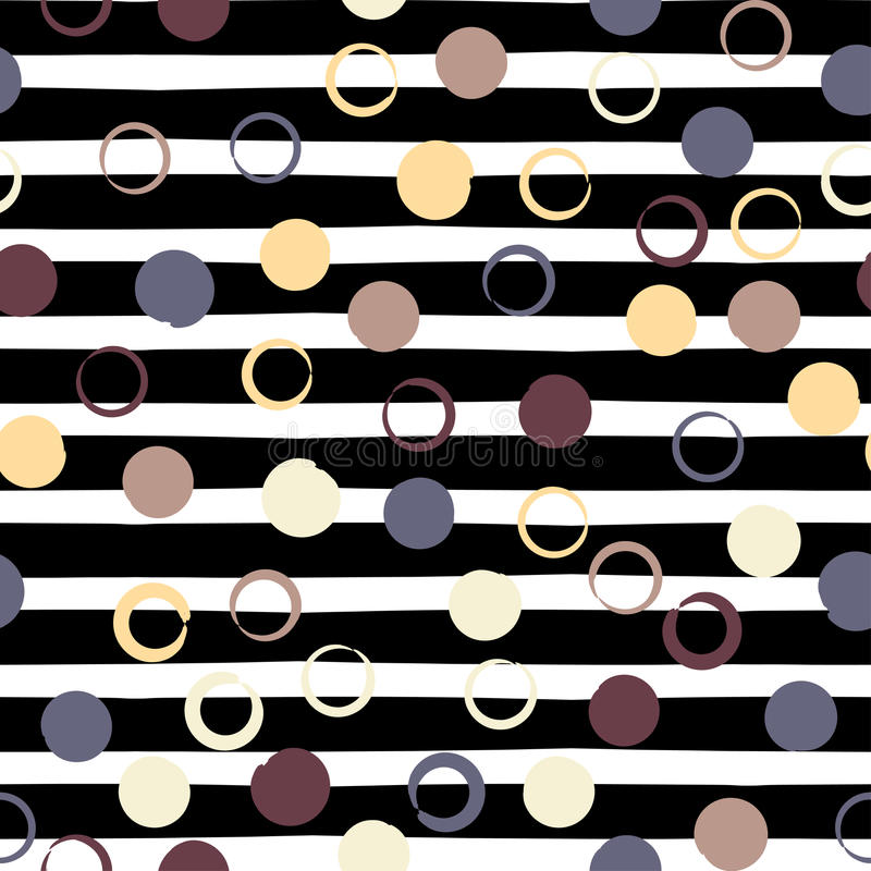 Cute vector geometric seamless pattern . Polka dots and stripes. Brush strokes. Hand drawn grunge texture. Abstract. Forms. Endless texture can be used for stock illustration