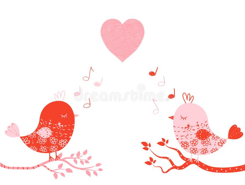 Cute vector greeting card with birds. Cute vector greeting card with sweet birds in pink and red colors on tree branches for Valentine`s day, wedding invitations vector illustration