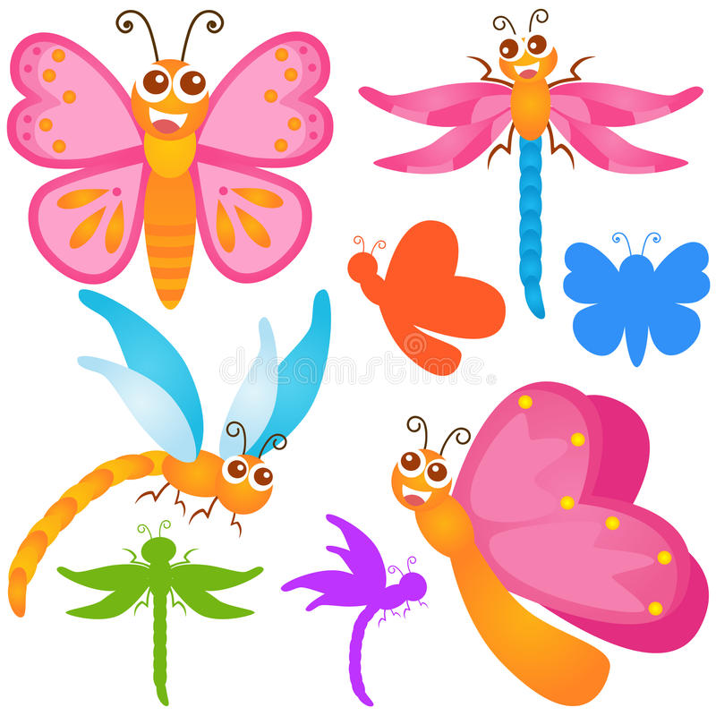 Download Cute Vector Icons : Butterfly, Dragonfly Stock Vector - Image: 22324231