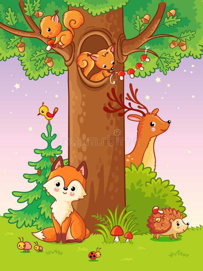 Cute vector illustration with animals. royalty free illustration