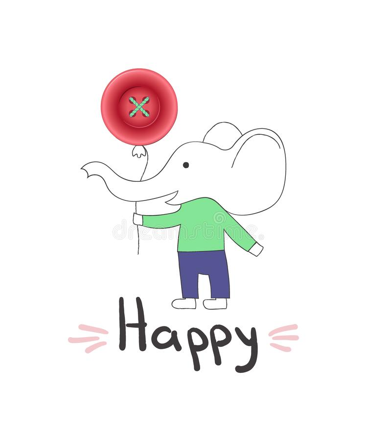 Cute vector illustration, little elephant in cartoon style with realistic button balloon, hand lettering word Happy royalty free illustration