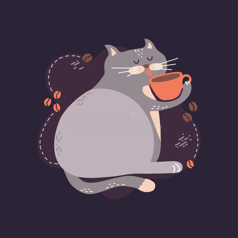 Free Cute Vector Illustration Of A Funny Fat Cat Sitting And Drinking Hot Coffee From An Orange Mug. Royalty Free Stock Photo - 171415435