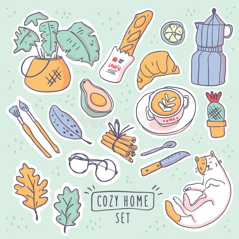 Cute vector illustration stickers set hygge royalty free illustration