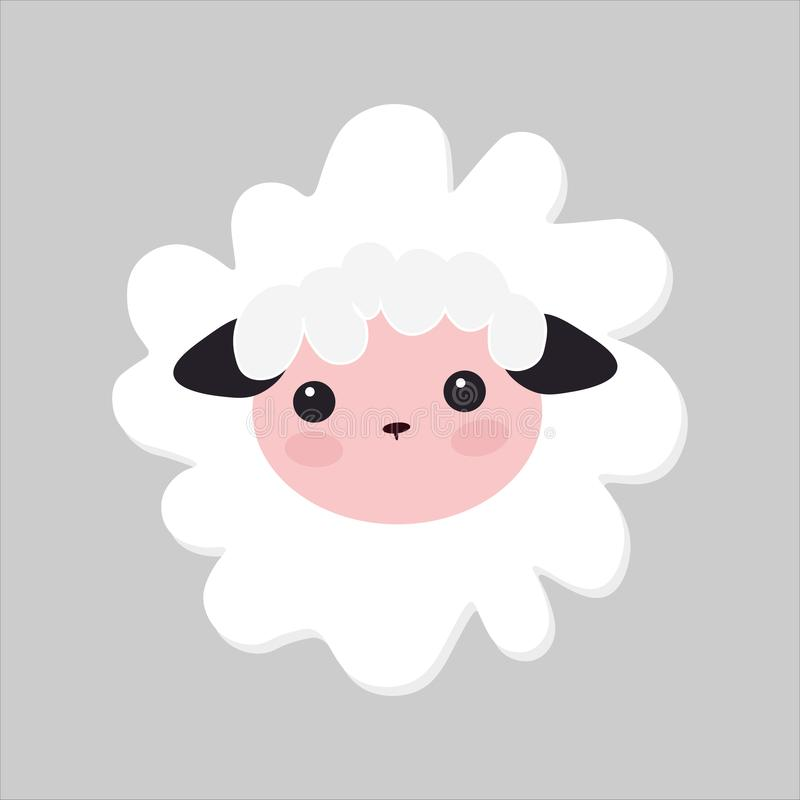 Cute Vector Lamb Illustration. little white sheep, baby picture royalty free illustration