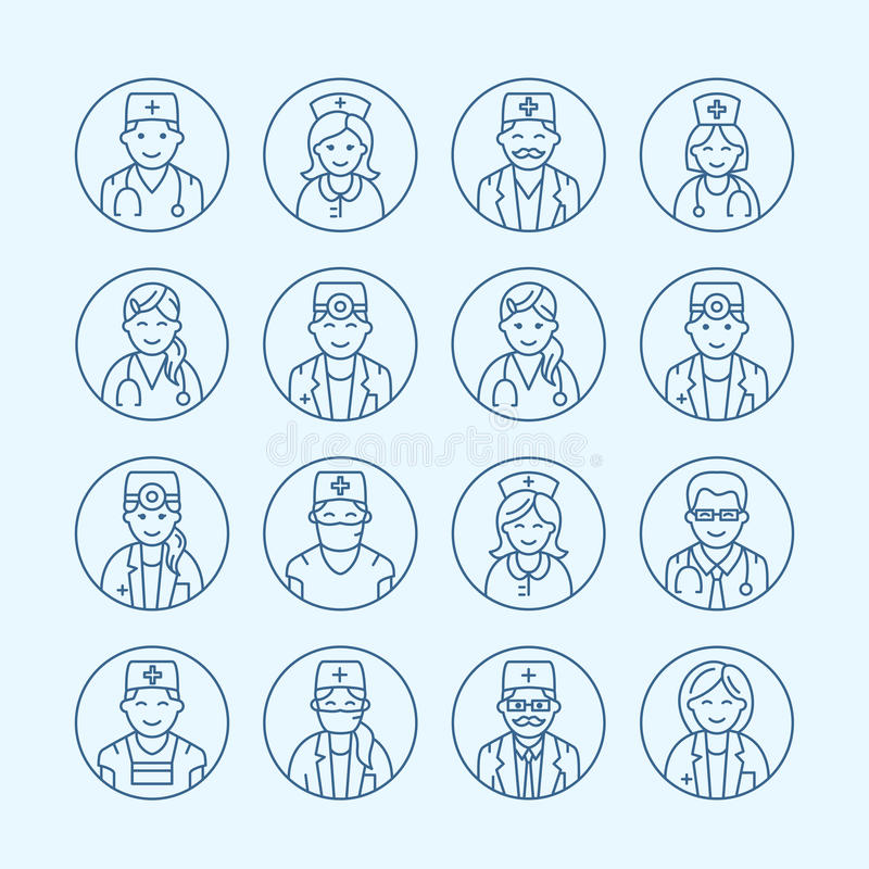 Cute vector line icon of doctor. Hospital clinic linear logo. Outline medical sign - surgeon, cardiologist, dentist vector illustration