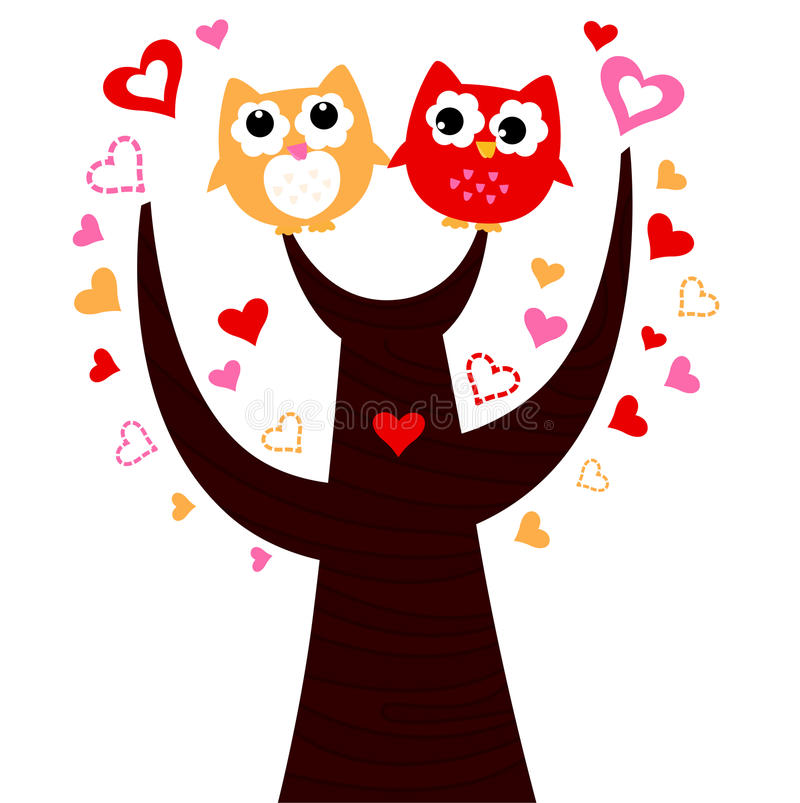 Two Owls On Branch Clip Art Cute Vector Love...