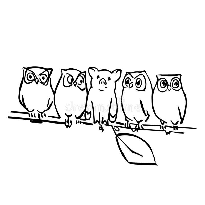 Cute vector pig and owls on the branch royalty free illustration