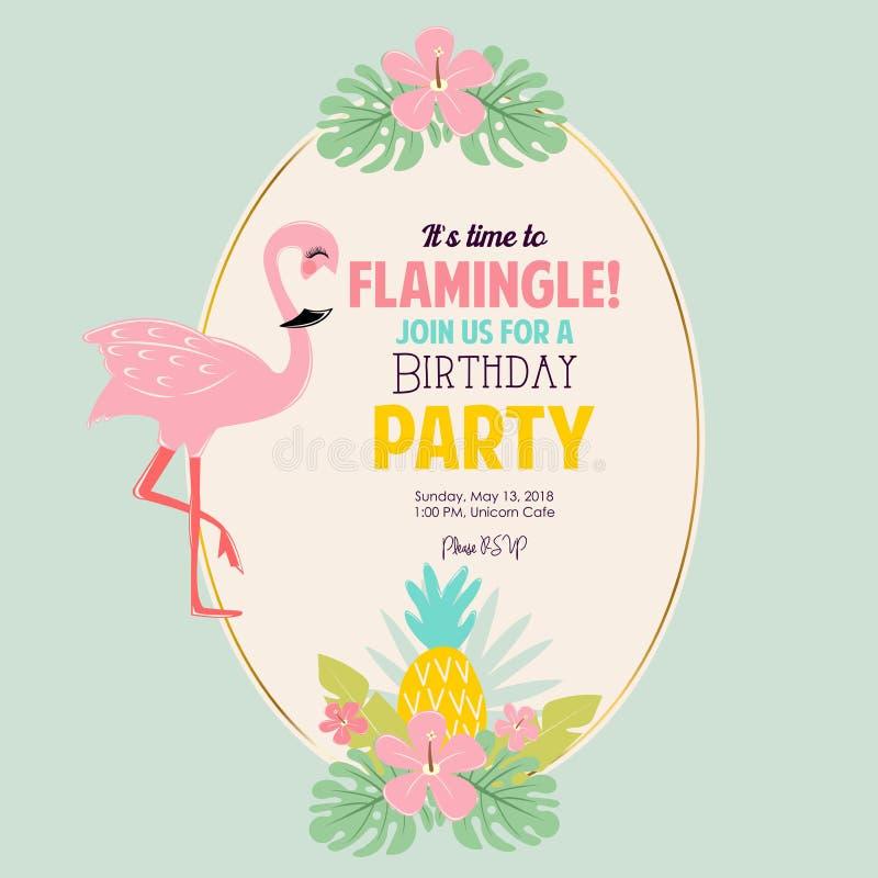 Cute Pink flamingo. Cute vector Pink flamingo invitation for birthday party vector illustration
