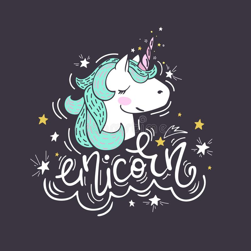 Portrait of a unicorn vector illustration