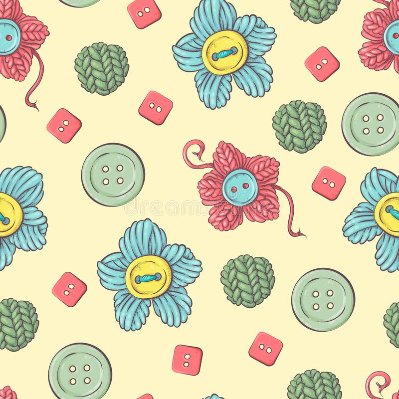 Cute seamless pattern of balls of yarn, buttons, skeins of yarn or knitting and crocheting. royalty free illustration