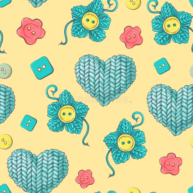 Cute seamless pattern of balls of yarn, buttons, skeins of yarn or knitting and crocheting. Cute vector seamless pattern of balls of yarn, buttons, skeins of stock illustration