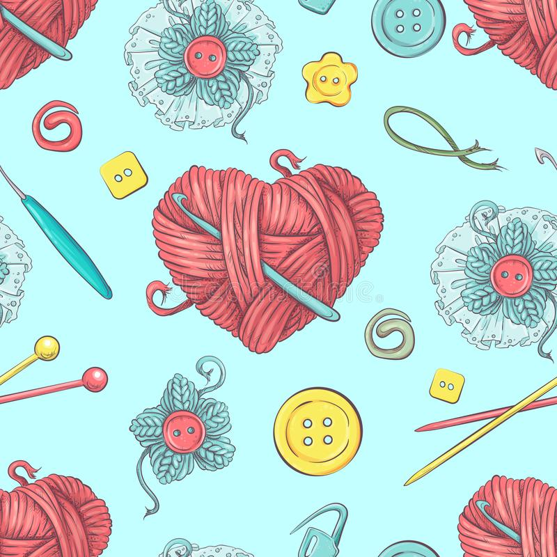 Cute seamless pattern of balls of yarn, buttons, skeins of yarn or knitting and crocheting. Cute vector seamless pattern of balls of yarn, buttons, skeins of vector illustration