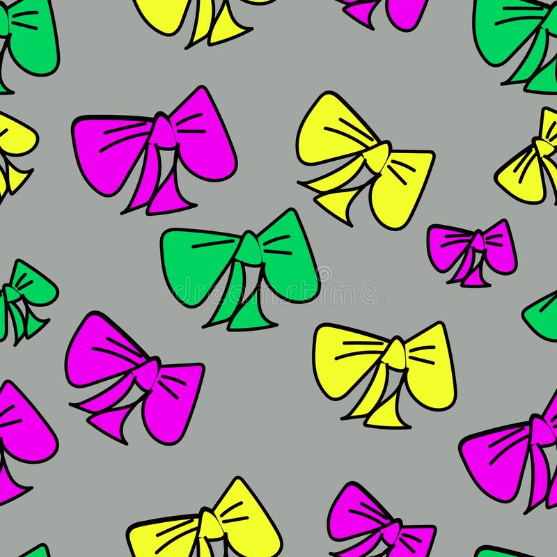 Cute vector seamless pattern with colored cartoon bows on gray background, fabric blank, packing pattern, design stock illustration
