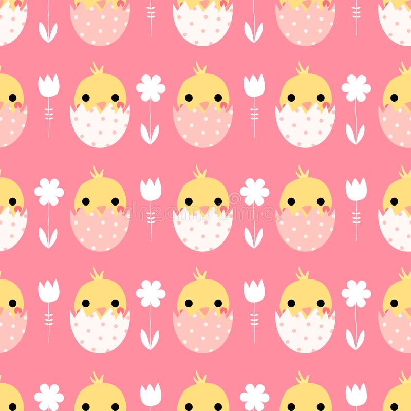 Cute vector seamless pattern with Easter chicks. In eggs on pink background stock illustration