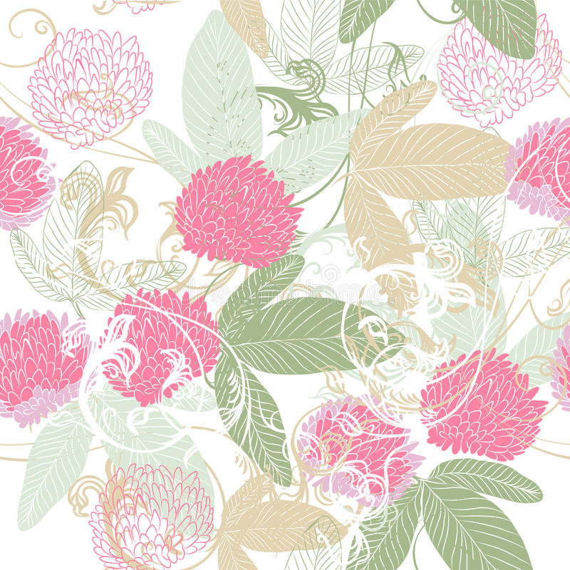 Download Cute Vector Seamless Pattern With Hand Drawn Clover Flowers Stock