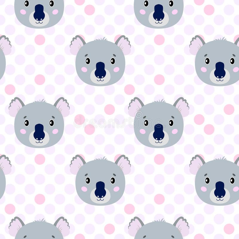 Cute vector seamless pattern with koala face, hare. On white background in polka dots. stock illustration