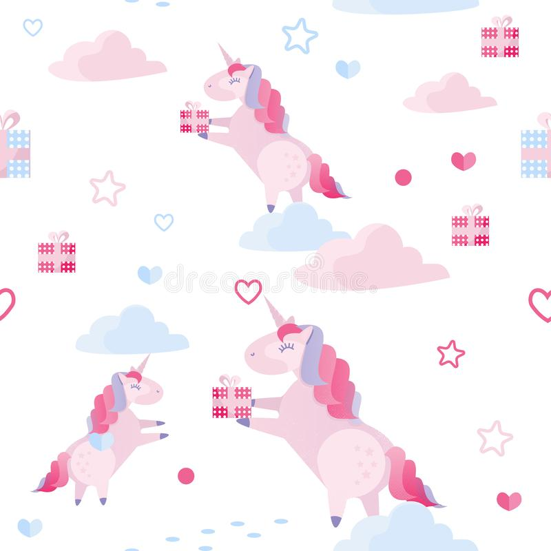Cute vector seamless pattern unicorn, clouds, hearts, gift boxes on white background. Holiday template for St Valentines royalty free illustration