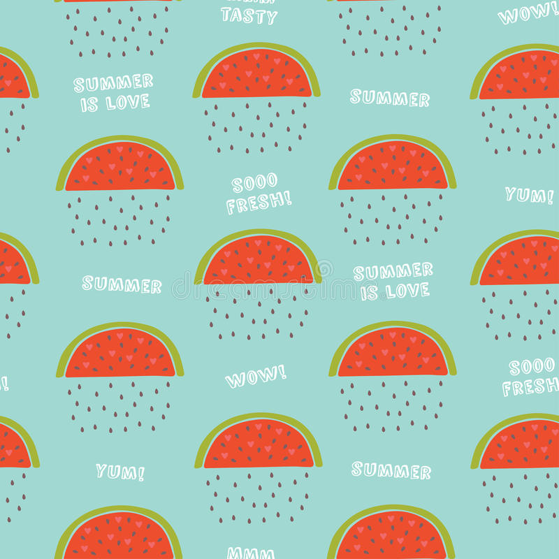 Cute vector seamless pattern with watermelon. royalty free stock images
