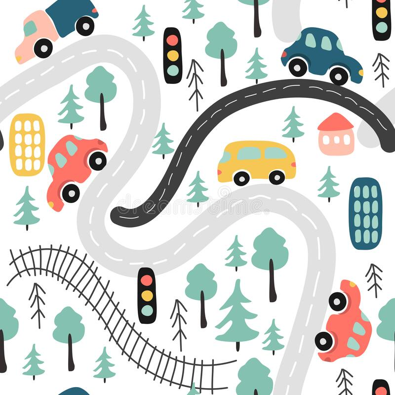 Free Cute Vector Seamless Pattern With Childrens Drawing - Street Traffic With Cars, Road, Trees. Stock Photo - 218666160