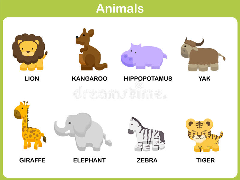 download cute vector set of animal for kids stock vector illustration of children language - Pictures Of Animals For Kids