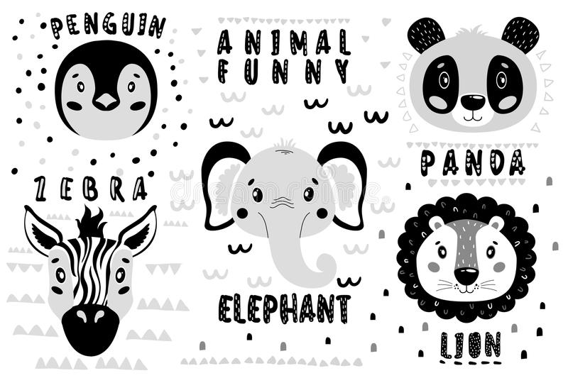 Cute vector set lion, panda, elephant, zebra, penguin face. One object on a white background. Cartoon illustration Scandinavian style vector illustration