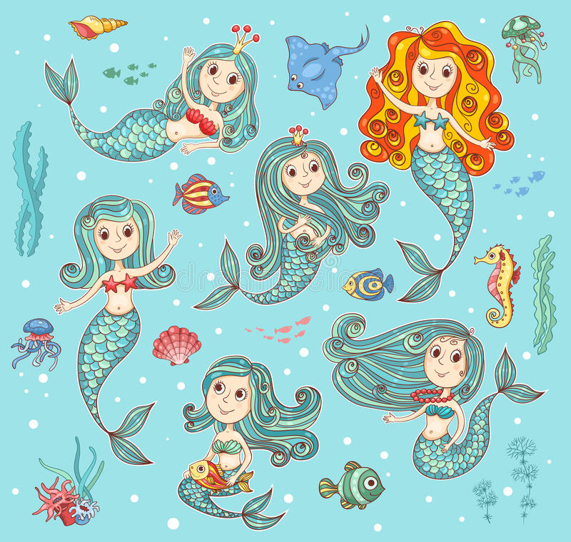 Cute vector set with mermaids royalty free stock images