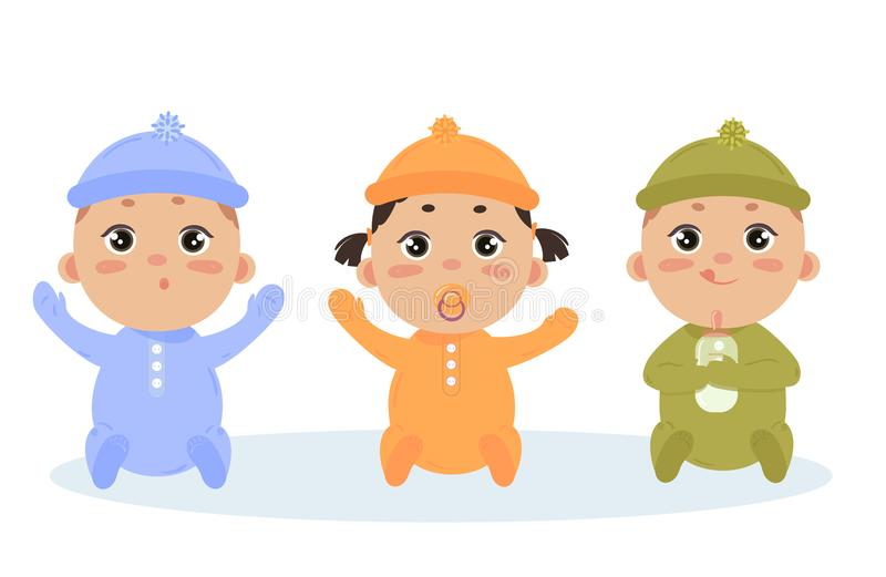 Cute vector set of triplets babies. Baby girl, boy. Cute vector set of three babies smiling. Baby triplets sitting in footies cloth and caps. Newborn girl with vector illustration