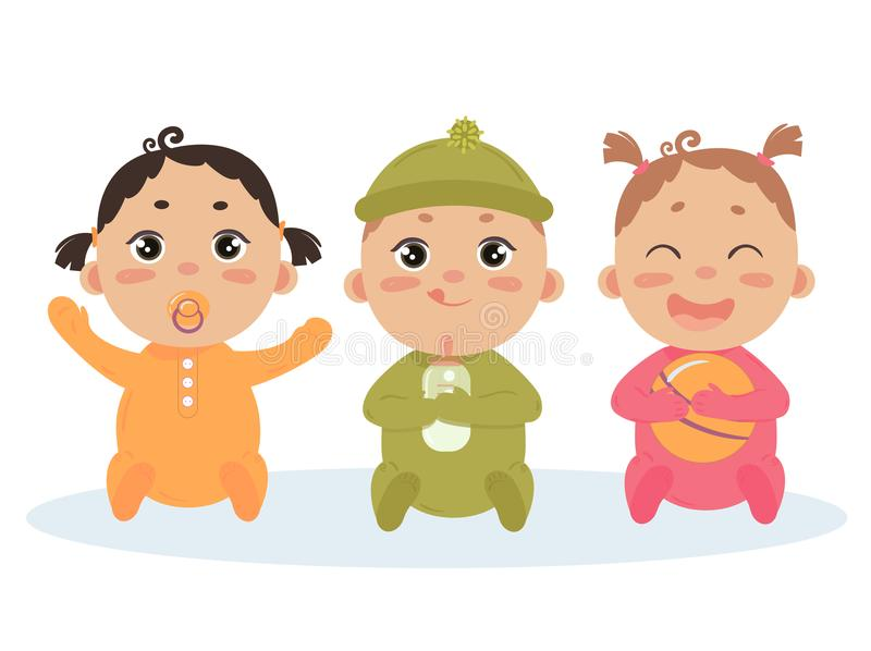 Cute vector set of triplets babies. Baby girl, boy. Cute vector set of three babies smiling. Baby triplets sitting in footies cloth. Newborn girl with comforter stock illustration