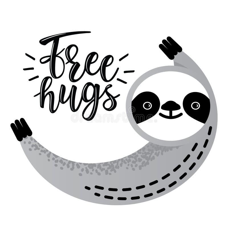 Free Cute Vector Sloth Bear Animal Says `Free Hugs` Stock Images - 121391384