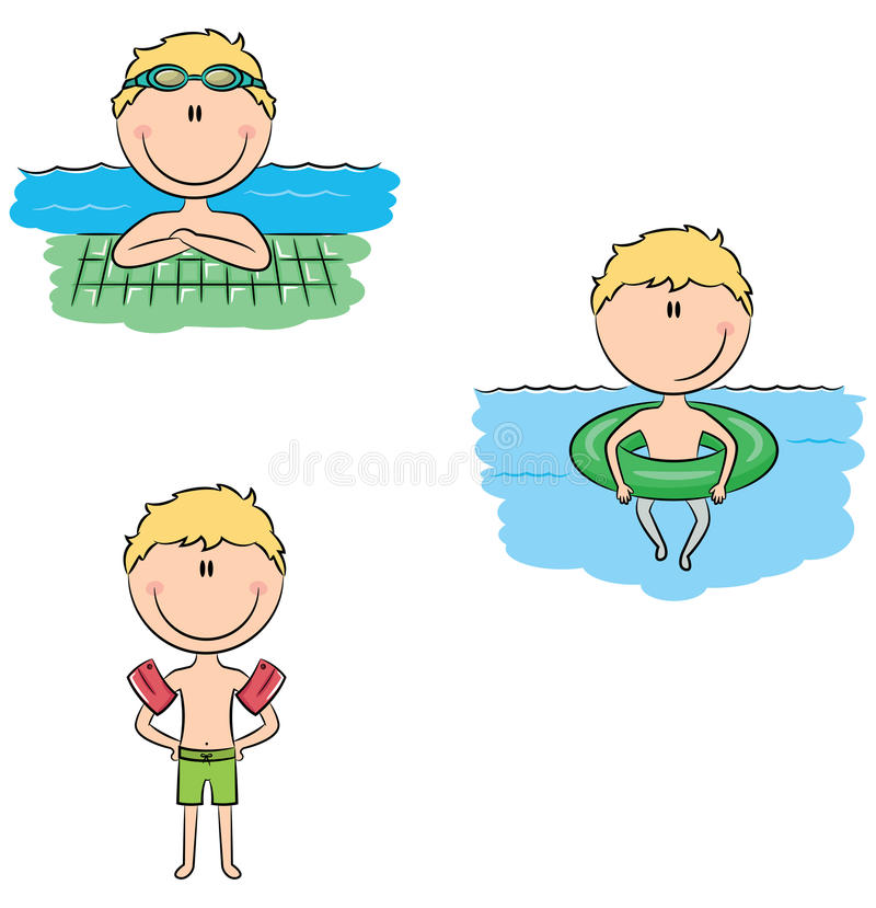 Cute vector swimmer boys in different sport situations in the po. Cute vector swimmer boys in different situations: swimming in the pool with rubber ring royalty free illustration