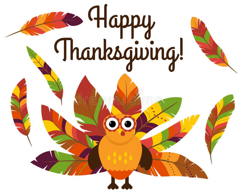 Cute Vector Turkey with Colorful Feathers for Thanksgiving. And Fall vector illustration